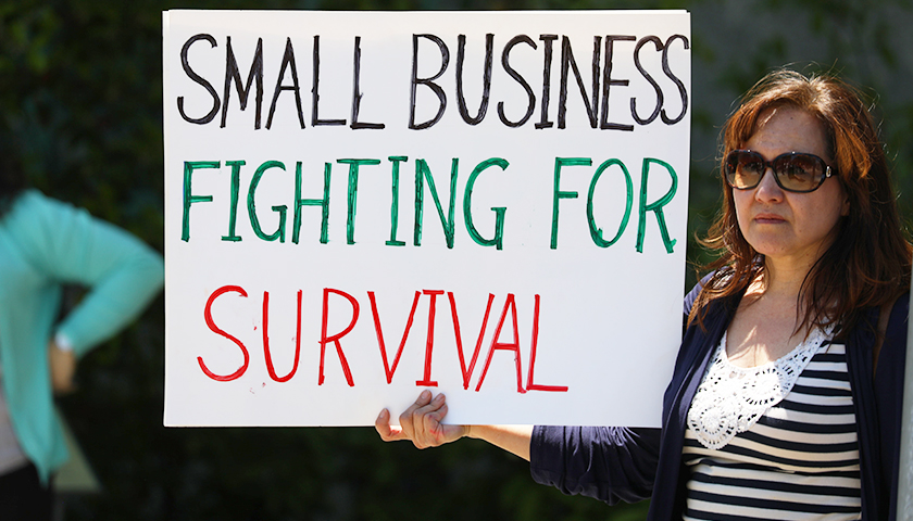 """Rally goer holds up a """"Small Business fighting for survival"""" sign"""