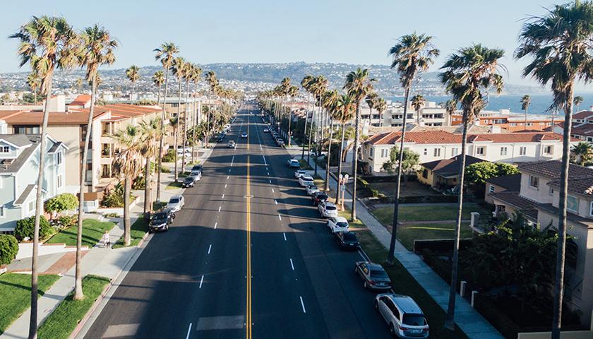 Aerial shot of a California suburb