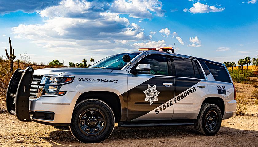 Arizona state trooper SUV in desert