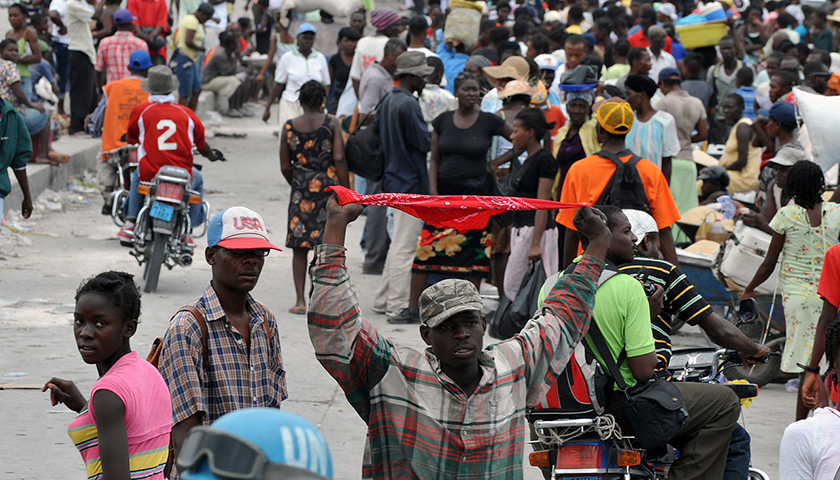 A crowd of Haitian people