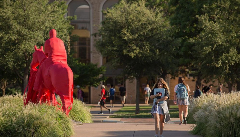 Students walking on Texas Tech campus